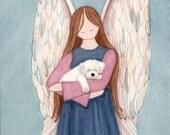 Bichon Frise cradled by angel / Lynch signed folk art print
