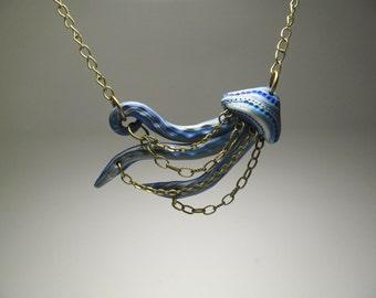 Blue Jellyfish Necklace - Polymer Clay Jewelry