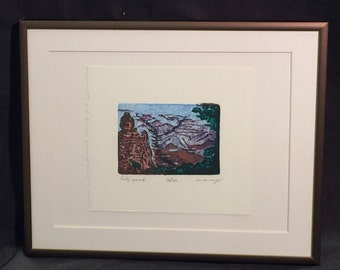 FRAMED 8X10 Original Woodcut Baby Grand, miniature Grand Canyon in full color
