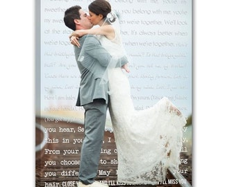 Personalized newlywed gift First Dance Lyrics Behind Photo Wedding Canvas Decor Words vows lyrics Anniversary or Wedding Art