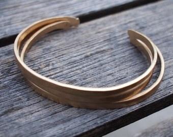 Hammered Bronze Bracelets, 8th Anniversary Gift, Cuff, Bangles, Anniversary Bracelet, Matte Gold Cuffs