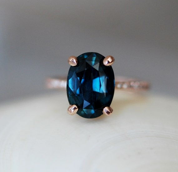 customized -London blue sapphire . Blue green sapphire engagement ring. Peacock blue sapphire 4.82ct oval diamond  ring 14k Rose gold ring.