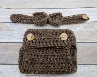 Crochet Baby Diaper Cover, Baby Boy Diaper Cover, Newborn Bow Tie, Infant, Bow Tie Set, Photo Prop, Baby Bow tie, Newborn Diaper Cover Brown