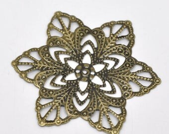 5 Filigree Stamping Antique Bronze Connectors Star Flower Wraps 57mm