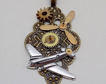 Steampunk jewelry. Steampun airplane necklace pendant.