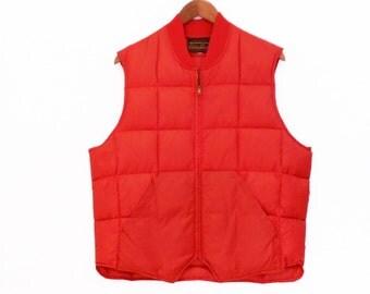 80's PUFFY goose down ski vest // bright RED by Eddie Bauer // vintage down vest // L XL