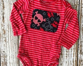 Red and Black Skull Onesie - 6 months