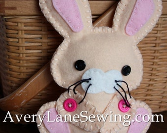 AveryLane Hand Sewing Project Felt Bunny Stuffie PDF Pattern