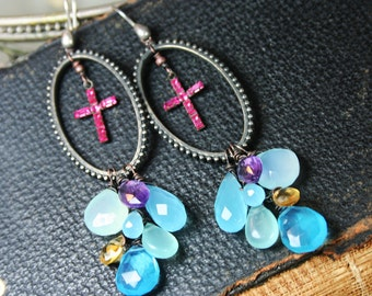 Candy Cross Clusters - Vintage Assemblage Earrings with Briolettes and Pink Rhinestone Crosses