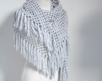 Lace crochet shawl, stole, Light grey, Cotton, P525