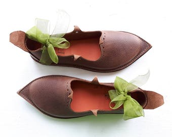 UK 3, Handmade Ladies Shoes, Leather Fairytale Harry Potter, Prickle Shoes 3237 old oak