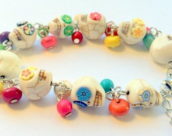 Day of the Dead Sugar Skull Adjustable Chain Bracelet Bright Popping Rainbow Flowers