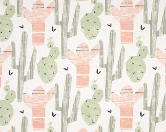 "Pink, Green Grey and White Cactus Valance - 50"" x 16"" - Premier Prints Cactus Sundown Fabric"