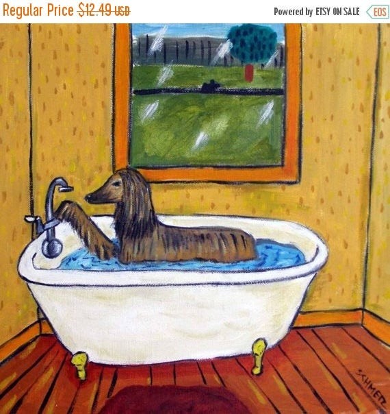 SALE 20% off Afghan Hound Taking a Bath Dog Art Tile Coaster