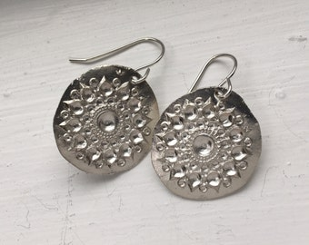 Handmade silver mandala India earrings on sterling wires