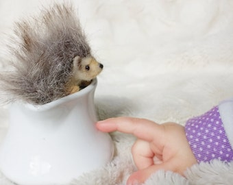 Fuzzy Little Hedgehog Felted Cute Lovinclaydolls Lisa Haldeman