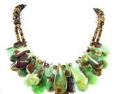 Sale -  Statement Necklace, Chrysoprase & Tiger Eye Necklace, Bold Necklace, Gemstone Necklace