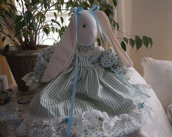 Stuffed Bunny Rabbit from  Glenda's Rose Garden, in Blue