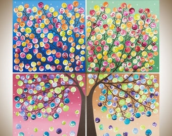 """rainbow color art large square art blue red yellow green purple magenta painting large wall art canvas art """"Tree of Life"""" by qiqigaller"""