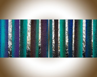 "48"" Contemporary wall art heavy textured impasto birch painting Original artwork blue green violet white black wall art by qiqigallery"