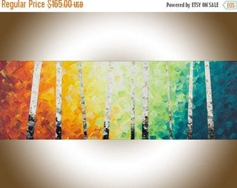 Rainbow Color Birch art  birch tree painting narrow art painting on canvas yellow orange blue green white black office wall decor by qiqi