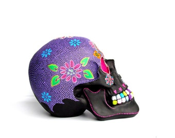 Large Hand Painted Resin Skull Painted skull Sugar skull colorful skull