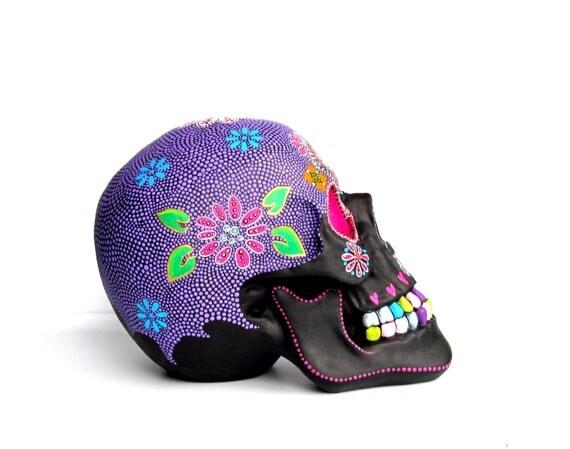 Large Hand Painted Resin Skull Painted skull Sugar skull colorful skull