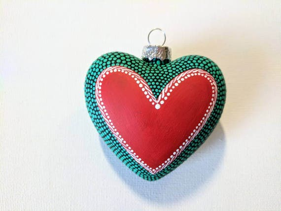 Heart ornament: Hand painted glass heart ornament teal red white and black dot Painting Love Heart