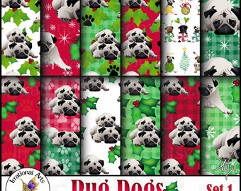 Pug Christmas Set 1 - 12 digital scrapbooking papers - holly pug dogs red and green {Instant Download}