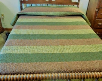 Green and Brown Stripe Quilt Full Size 79 x 107 Inches