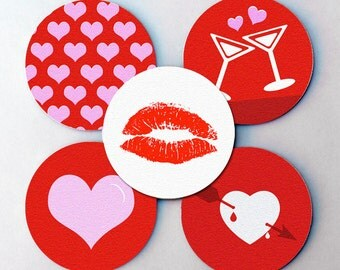 "LOVE Heart & Holiday, Drink Coaster Sets - Drink Coasters 3.5"" (St. Patrick's Day, Easter, Valentine's)"