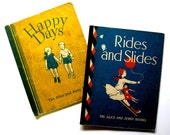 Vintage Childrens Books, Alice and Jerry Books, 1938 and 1941, Rides and Slides, Happy Days
