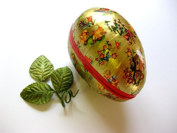Vintage Medium Size, Paper Mache, Western Germany Easter Egg, Chicks, Floral, Baskets and Pussy Willows