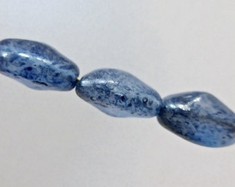 Vintage Handmade Blue Luster Glass Nugget Beads  12x9mm  (5)