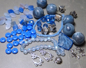 Mix of Assorted Vintage and New Beads to Play With - Sky Blue Tones OOAK  (SK)