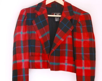 Vintage Escada plaid bolero jacket blazer red and black plaid size 6 36 Holiday outfit