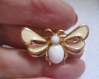 PANETTA White Enamel Moth or Butterfly Figural Pin with Milk Glass Body