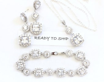 RTS Rhinestone Bridal Jewelry Set, Cubic Zirconia Pendant Necklace, Earrings, Bracelet, Silver Tone for Wedding