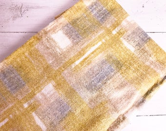 1.5 Yards Vintage Mid Century Modern Plaid Upholstery Fabric- 38 inches wide