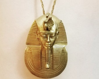 Goldtone King Tut Egyptian Pendent and Necklace
