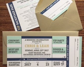 Concert Ticket Invitation with RSVP tear-off stub / Wedding / Birthday / Bat Mitzvah / Graduation