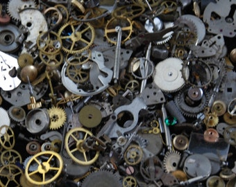 1 oz 28 grams Vintage Watch movements parts cogs gears Steampunk Z 86