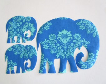 "3 Elephants Iron On Fabric Applique Patch 8"" Set"