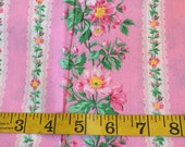 Half Yard of Pink Striped Floral Fabric