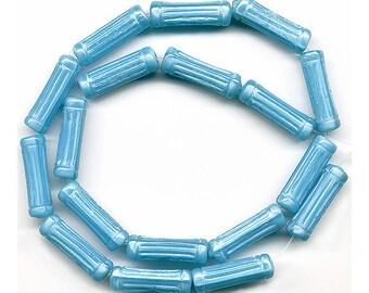 Vintage Blue Beads 20mm Column Shape Aqua Satin Glass 18 Pcs.