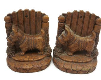 Scottie Dog Bookends - Syroco Wood, Scottish Terriers