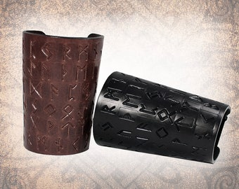 Leather Bracers - Nordic Runes Bracers, Adjustable Leather Cuff, Black Bracers, Black Leather Cuff - Custom to You (1 pair only)