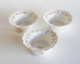 Antique Altrohla Austria Porcelain Custard Ruffle Dish Floral Set of 3