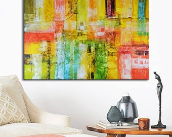 Original painting yellow red blue, yellow Abstract, Blue Painting, gold blue art, Mixed media Oil painting, geometrical abstract painting
