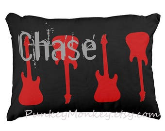 16x12 electric guitar pillow toss pillow personalized name pillow rockstar rock music themed decor guitars red and black custom rock star